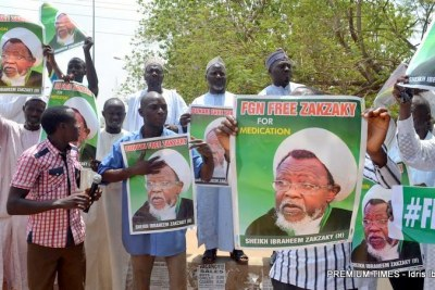 Shia members demanding the release of Ibrahim El-Zakzaky in Abuja.