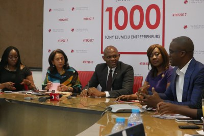 Founder, Tony Elumelu Foundation (TEF), Tony O. Elumelu CON (middle) flanked on the left by Owen Omogiafo, Chief Operating Officer TEF; Parminder Vir OBE, CEO, TEF and on the right by Nimi Akingugbe, Selection Committee (SC) Member; and Martin Eigbike, SC member during the selection committee (SC) meeting where 1,000 new Entrepreneurs for the 2017 TEF Entrepreneurship Programme were selected and announced in Lagos.