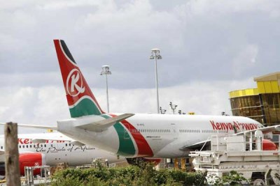 Kenya Airways planes at Jomo Kenyatta International Airport (file photo).