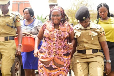Stella Nyanzi (C) at Buganda Road court.