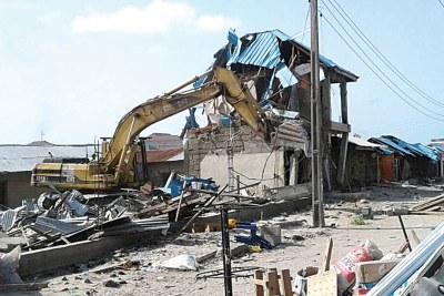 Shops destroyed in Lekki in Lagos State.
