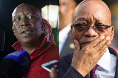 Left: Economic Freedom Fighters leader Julius Malema. Right: President Jacob Zuma.