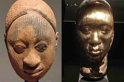 Ife terracotta head sculpted by artists from Ile-Ife and Damien Hirst Golden head.
