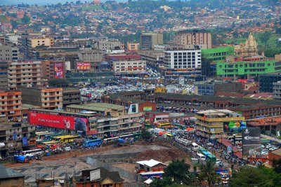 An aerial view of Kampala City (file photo).