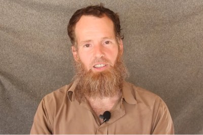 Screenshot of a video released in December 2015 delivering proof of life for South African citizen Stephen McGowan. McGowan was abducted by al-Qaeda operatives in Mali during November 2011.