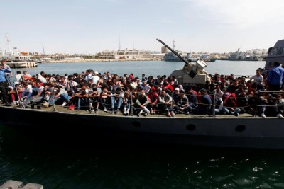Migrants arrive in Tripoli (file photo).
