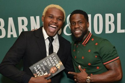 Kenyan comedian Chipukeezy with Kevin Hart