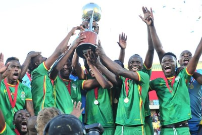 Zimbabwe celebrates its win at the 2017 Cosafa Castle Cup final against Zambia.