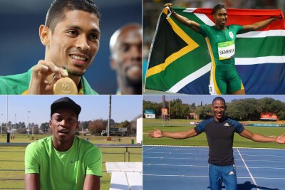 Top-left: Wayde Van Niekerk. Top-right: Caster Semenya. Bottom-left: Luvo Manyonga. Bottom-right: Ruswahl Samaai.