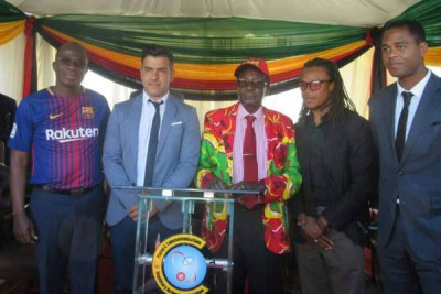 From left, Sports and Recreation Minister Makhosini Hlongwane, Rayco Garcia, President Robert Mugabe, Edgar Davids and Patrick Kluivert at the Zanu PF presidential youth interface rally in Gwanda.