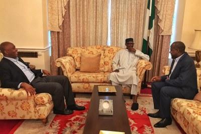 The Senate President, Dr. Bukola Saraki and the Speaker of the House of Representatives, Hon. Yakubu Dogara, on Thursday visited President Muhammadu Buhari at the Abuja House, London
