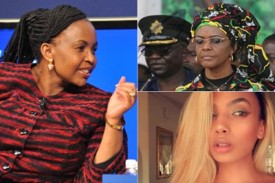 Left: International Relations and Co-operation Minister Maite Nkoana-Mashabane. Top-right: Former first lady Grace Mugabe. Bottom-right: Model Gabriella Engels.
