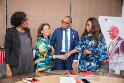 Press Conference on 3rd Annual TEF Entrepreneurship Forum 4: l-r: Chief Operating Officer, The Tony Elumelu Foundation(TEF), Mrs Owen Omogiafo; Chief Executive Officer, TEF, Mrs Parminder Vir; Company Secretary, TEF, Mr. Obong Idiong; and Programme Manager, Tony Elumelu Foundation Entrepreneurship Programme, Onajite Emerhor-Ogwu, at the Press Conference announcing the forthcoming 3rd Annual TEF Entrepreneurship Forum, the largest gathering of African Entrepreneurs, to be hosted by the Foundation on October 13-14 in Lagos
