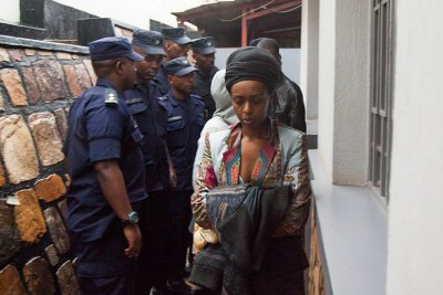 Diane Shima Rwigara getting out of the house after the Police presents her warrant (file photo).
