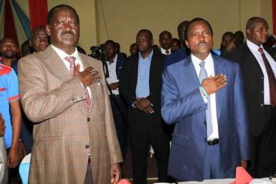 Raila Odinga and his running mate Kalonzo Musyoka.