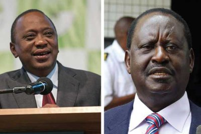 A combined picture of President Uhuru Kenyatta and Nasa leader Raila Odinga.