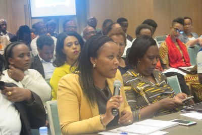 Gender and Family Promotion minister Esperance Nyirasafari speaks during the meeting.