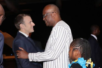 French president Emmanuel Macron and his Burkinabé counterpart  Roch Kaboré à Ouagadougou.