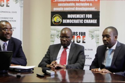 From left, MDC Alliance leaders Douglas Mwonzora, Tendai Biti and Nelson Chamisa (file photo).