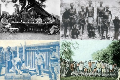 Left column: German soldiers Right: Namibian prisoners chained (file photo).