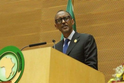 President Paul Kagame at the 30th AU summit held from Jan. 22 to 29.
