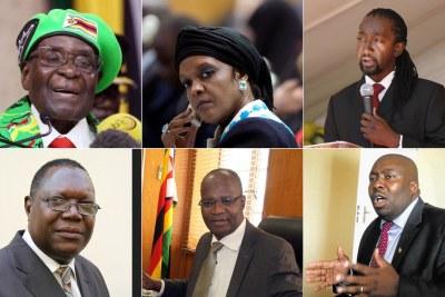 Top row: Robert Mugabe, Grace Mugabe and their nephew Patrick Zhuwao. Bottom row: Ambrose Mutinhiri, Jonathan Moyo and Saviour Kasukuwere (file photo).