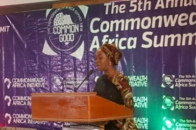 Toyin Ojora Saraki speaking at the the 5th Annual Commonwealth Africa Summit in London.