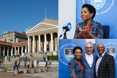 University of Cape Town, Professor Mamokgethi Phakeng and ,bottom right, with outgoing Vice Chancellor Max Price and human rights lawyer and council chair, Barney Pityana