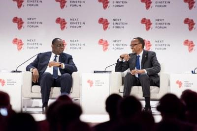 Deux présidents attachés à la science et à la technologie, à l'ouverture du 2ème édition du Next Einstein Forum, ce mardi 27 mars 2018 à Kigali, Rwanda