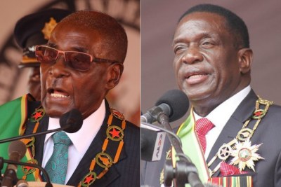 Former president Robert Mugabe and President Emmerson Mnangagwa (file photo).