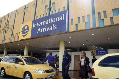 Taxi drivers wait for customers at the Jomo Kenyatta International Airport in Nairobi.