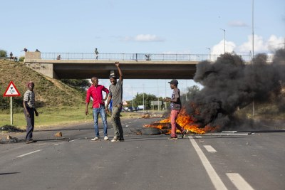 Protesters block the main road leading into Mahikeng.