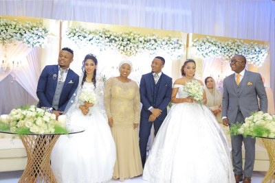 Tanzanian musician Alikiba and his brother Abdukiba during their double wedding