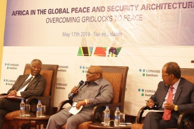 Former presidents Benjamin Mkapa of Tanzania, Thabo Mbeki of South Africa and Hassan Sheikh Mohamud of Somalia.