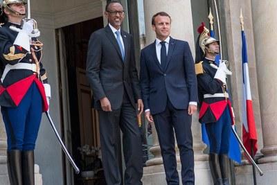 Paul Kagame, Président en exercice de l'Union Africaine avc le Président français, Emmanuel Macron.