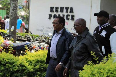National Youth Service suspects leave Muthaiga Police Station for the Milimani Law Courts.