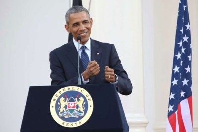 Then US President Barack Obama speaks during a press conference with his Kenyan counterpart at State House, Nairobi when he visited Kenya on July 25, 2015.