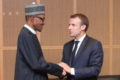 President Muhammadu Buhari with French President, Emmanuel Macron at the closing ceremony of the 31st Session of the Africa Union Summit today in Nouakchott, Islamic Republic of Mauritania. #AUsummit
