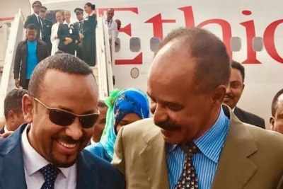 Prime Minister Abiy Ahmed and President Isaias Afwerki in Asmara (file photo)