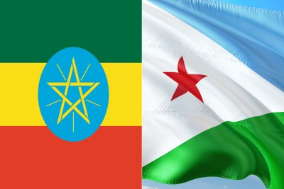 The flags of Ethiopia and Djibouti.