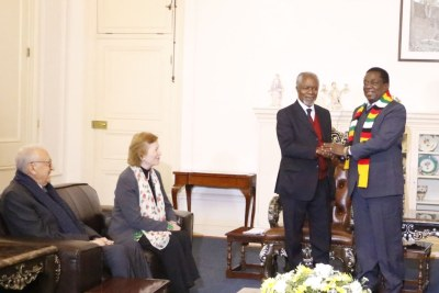 "Former U.N. secretary general Kofi Annan with President Emmerson Mnangagwa at the State House in Harare while fellow members of ""The Elders"" group Mary Robinson, the former president of Ireland, and Lakhdar Brahimi, an Algerian career diplomat look on."