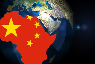 Africa China Chinese flag continent space
