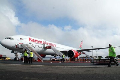 Kenya Airways plane at Jomo Kenyatta International Airport.