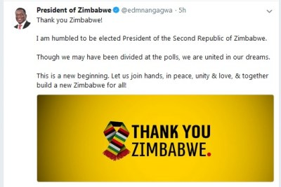 President Emmerson Mnangagwa's message on Twitter after being declared winner in the presidential election.