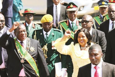 President Emmerson Mnangagwa and First Lady Auxillia Mnangagwa greet supporters on arrival at the National Heroes Acre.