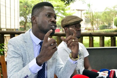 Kyadondo East Member of Parliament Robert Kyagulanyi, alias Bobi Wine at a recent press conference.
