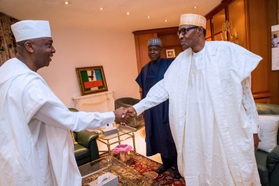 President Muhammadu Buhari and Senate President Bukola Saraki (file photo).