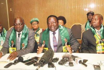 Zimbabwe National Liberation War Veterans Association Secretary-General  Victor Matemadanda (centre) flanked by Spokesperson Douglas Mahiya (left), Vice Chairman Headman Moyo( right) and other provincial executive members (file photo).