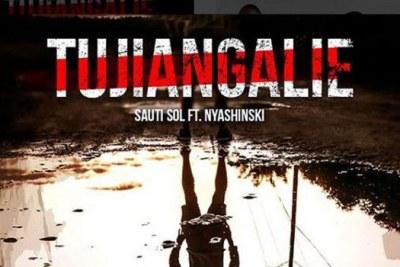 "Screen shot of Sauti Sol's latest song ""Tujiangalie""."