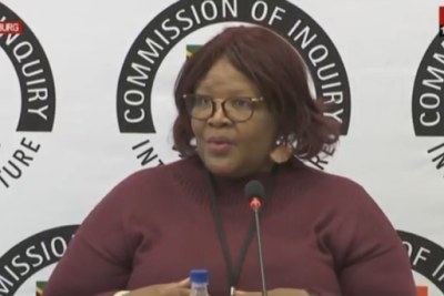 Video screenshot of former ANC MP Vytjie Mentor at the Zondo Commission of Inquiry.